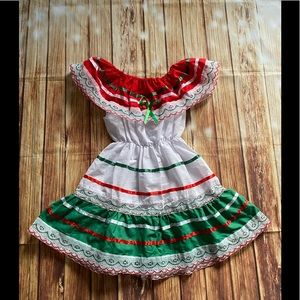 Toddler Girl Traditional Mexican Dress Tri-color 6